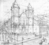 Croquis da Igreja do Rosário para a primeira página do preview.