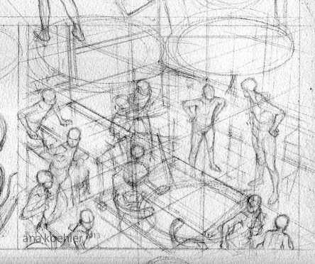 Croquis de perspectiva para o quadro 4 da página 2 do preview.