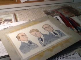 Estudos de rosto para Teo, com nanquim e aquarela.