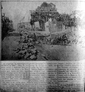 """Seção """"Aspectos da Cidade"""", do Correio do Povo de 8/2/1925, mostrando o início das obras de demolição da antiga Rua General Paranhos (Beco do Poço e Beco do Meirelles)."""