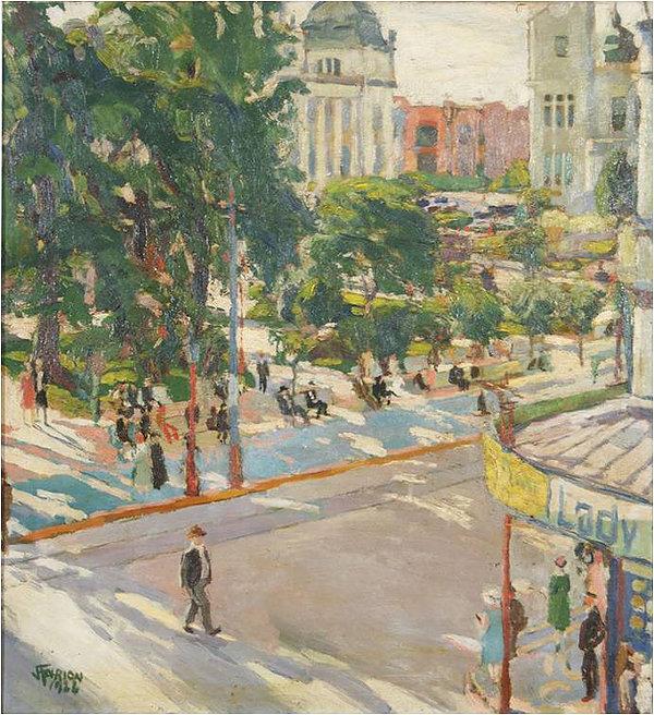 João Fahrion - Praça da Alfândega - 1922 - Pinacoteca Barão de Santo Ângelo
