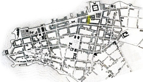 Localização do Beco da Ópera na planta de Porto Alegre de Henri Breton (1881). Acervo digital do Instituto Histórico e Geográfico do Rio Grande do Sul.