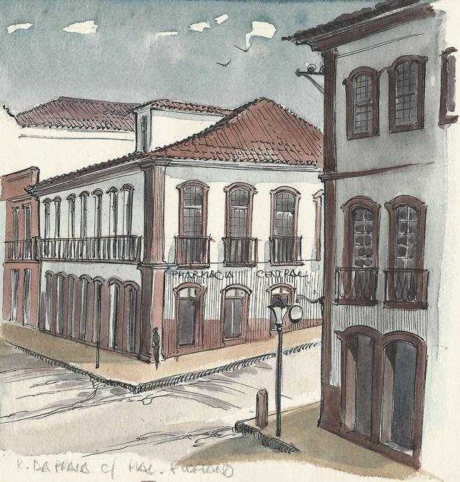 Estudo Rua da Praia com Marechal Floriano baseado em foto do final do século XIX e início do XX.