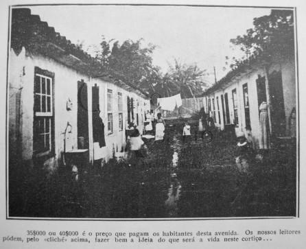 """A Máscara: 21/ago/1920 - As habitações em Porto Alegre - detalhe 1: """"35$000 ou 40$000 é o preço que pagam os habitantes desta avenida. Os nossos leitores pódem, pelo <> acima, fazer bem a ideia do que será a vida neste cortiço..."""""""