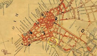 """Figura 1. """"Planta de Porto Alegre"""" de João Candido Jacques, 1888. No anel amarelo, a provável área em que o beco Curral das Éguas se localizava. Fonte: a pesquisadora."""