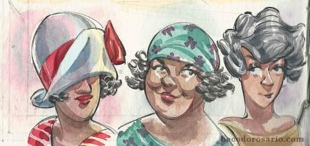 """""""Três banhistas"""" - aquarela no sketchbook, 2018."""