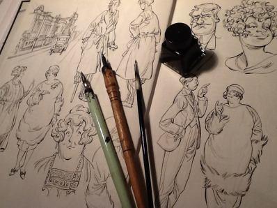 Páginas de sketchbook om desenhos a lápis e bico de pena. Agora tá bom!
