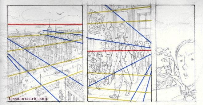 Desenho da lápis da página 13 e suas linhas compositivas.