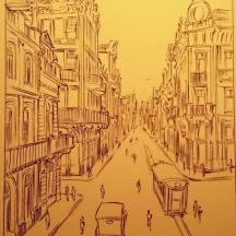 Desenho de página com arte-final com pincel.
