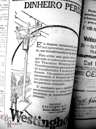 Anúncio do tranformador elétrico Westignhouse (A Federação, 6/2/1926. Hemeroteca do MCSHJC.).