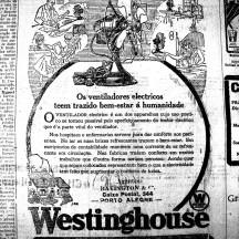 Anúncio do ventilador elétrico Westinghouse. Reparar no belo e preciso tratamento de linhas em meios-tons. (A Federação, 13/1/1926, Hemeroteca do MCSHJC.).