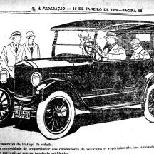 Anúncio de automóvel (A Federação, 13/1/1926, hemeroteca do MCSHJC.). O tratamento com preto total chama atenção pela elegância.