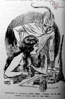 """Charge ilustrando a coluna """"Cabellos à la garçonne"""". Revista A Mascara, Ano VII, nr. 3. Hemeroteca do MCSHJC."""