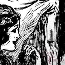 """Detalhe da charge para a coluna """"Cabellos à la garçonne"""" mostrando o tratamento de meios-tons com hachuras a bico de pena."""