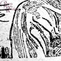 """Detalhe da charge """"Rouge de lábios"""" mostrando o tratamento de hachuras a bico de pena com diferentes pesos ou espessuras de linha."""