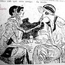 """Charge """"Rouge de lábios"""". Revista A Mascara, Ano VII, nr. 3. Hemeroteca do MCSHJC."""