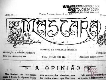 Cabeçalho da revista A Mascara de 9/4/1921 com rico arabesco desenhado com nanquim e título em estilo Art Nouveau. (Hemeroteca do MCSHJC).