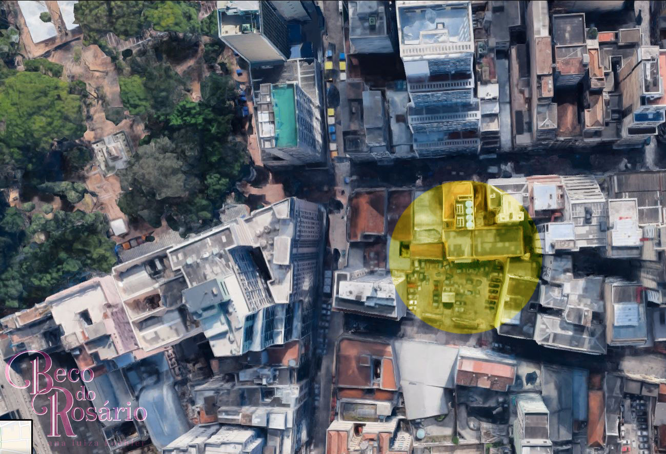 Em amarelo, área aproximada de onde dever ter se situado o Beco do Leite ou Travessa Angustura. Imagem do Google Maps editada pela autora, 2018.