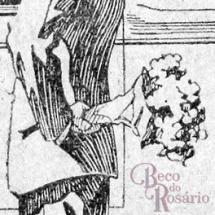 Detalhe do anúncio da casa Byngton & Co mostrando o elegante efeito de contraluz obtido com hachuras de bico de pena.