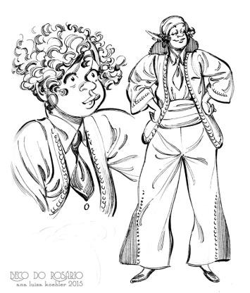 Estudo de figurino para a personagem Vitória com bico de pena, de 2015, como o estilo mais consolidado.