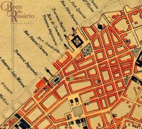 Em verde, detalhe da situação do Beco do Leite ou Travessa Angustura. na Planta de Porto Alegre de 1888. Imagem do acervo digital do IHGRS editada pela autora, 2018.