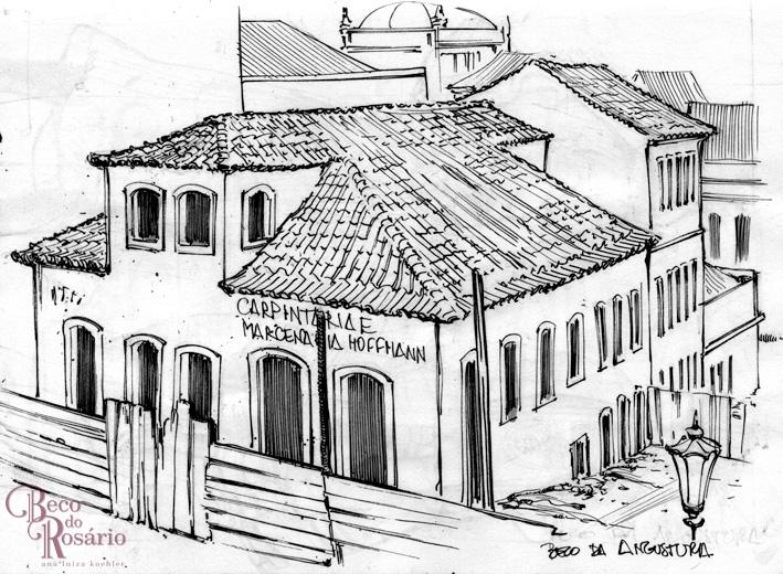 Desenho de estudo com base na fotografia do Beco do Leite no Correio do Povo de 8/1/1925, feito a lápis e caneta nanquim sobre folha de sketchbook da autora, 2013.