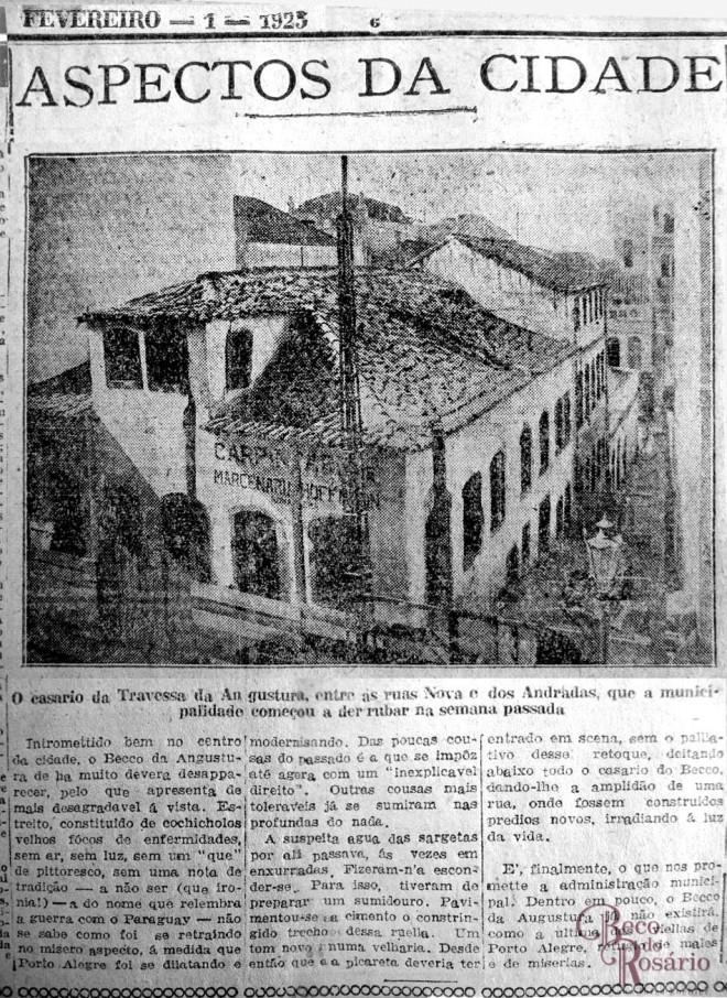Fotografia do Beco do Leite ou Travessa Angustura no Correio do Povo de 8/1/1925, ilustrando a coluna