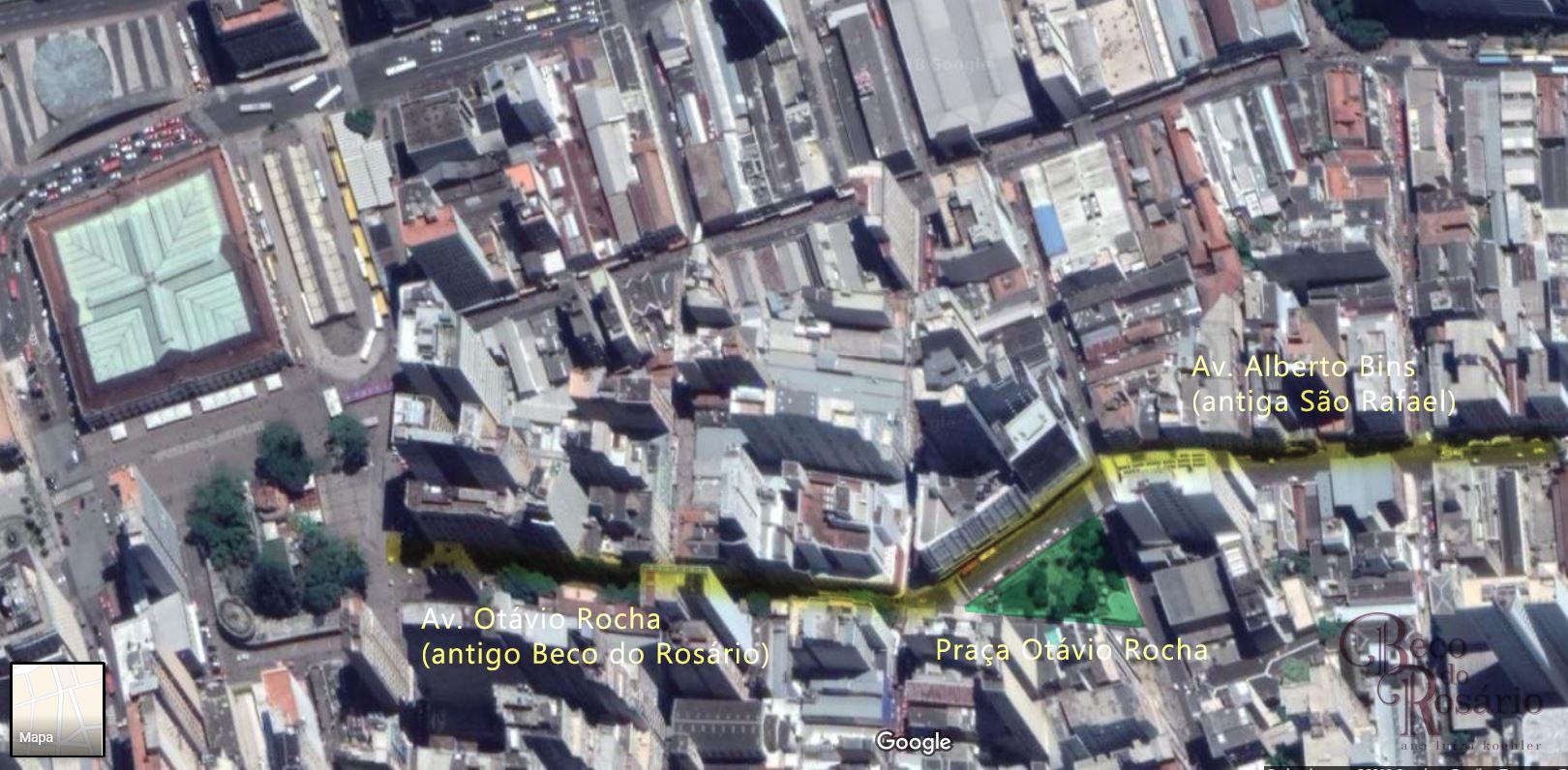 Traçado atual das avenidas Otávio Rocha e Alberto Bins com a praça Otávio Rocha. Edição da pesquisadora sobre imagem do Google Earth, 2019.