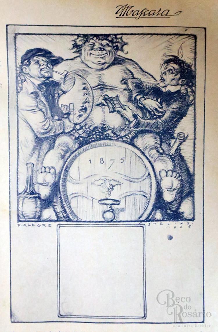 """Ilustração na revista """"A Mascara"""", Ano VII, nr. 4, 06/02/1925, p. 61."""