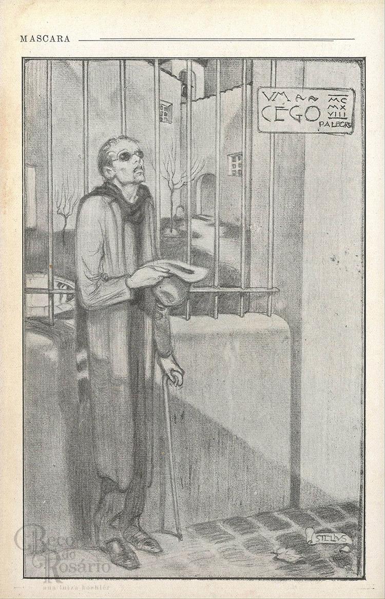 """""""Um cego"""". Revista """"A Mascara"""", BNDigital, 1918, Ed00018, p. 18."""
