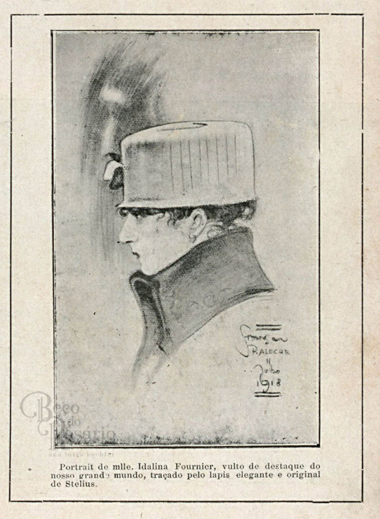 """Portrait de mlle. Idalina Fournier"". Revista ""A Mascara"", BNDigital, 1918, Ed00024, p13."