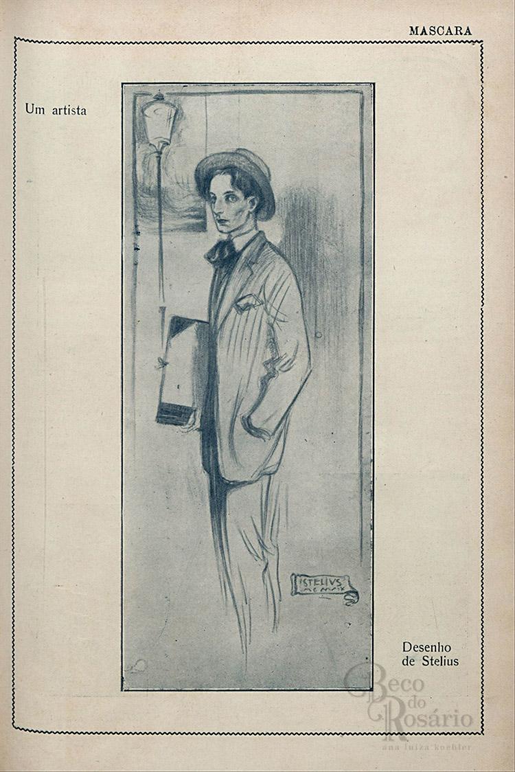"""""""Um artista"""". Revista """"A Mascara"""", BNDigital, 1919, Ed00006, p15."""